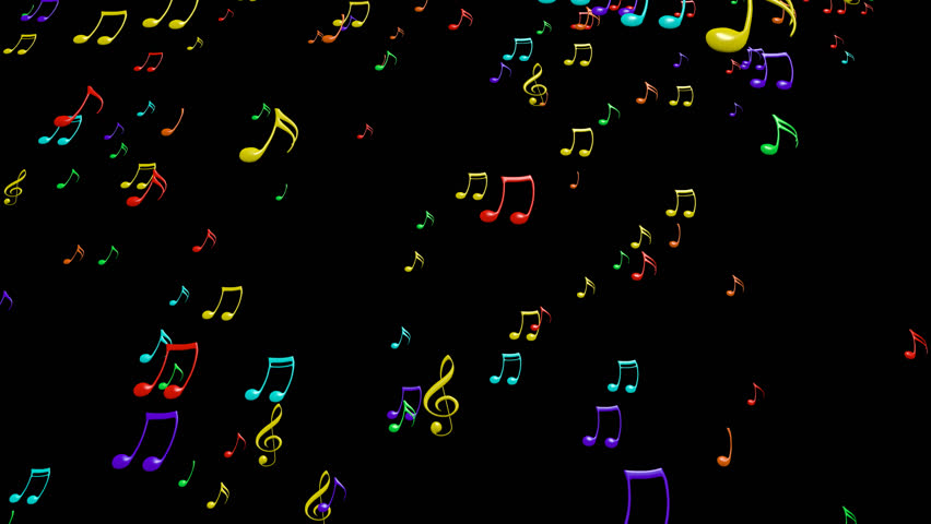 Animated falling colorful music notes on transparent background. Each music note is a 3d model with light reflection on surface. (Alpha channel embedded in HD PNG file). | Shutterstock HD Video #9133163