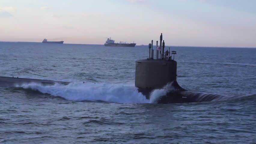 CIRCA 2010s - Excellent aerials over a submarine at sea. - HD stock footage clip