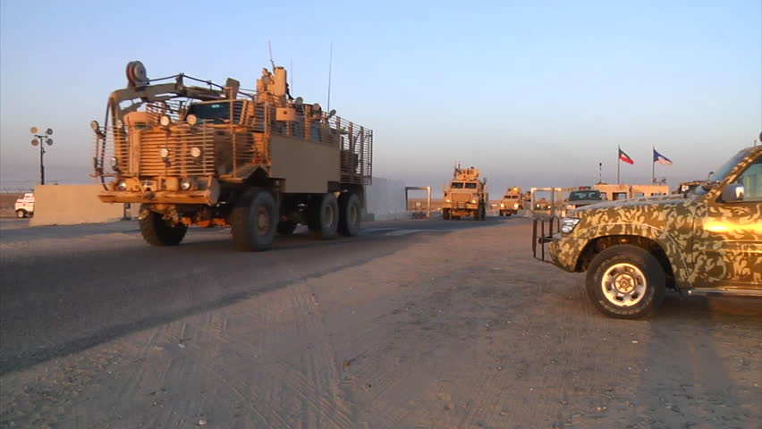 CIRCA 2010s - A U.S. transport convoy moves through Iraq during the war.