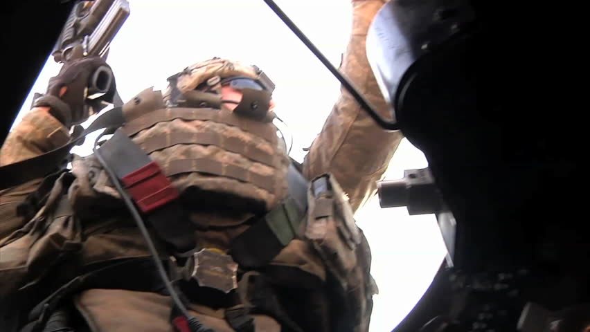 CIRCA 2010s - POV shots as a U.S. transport convoy moves through Iraq during the war.