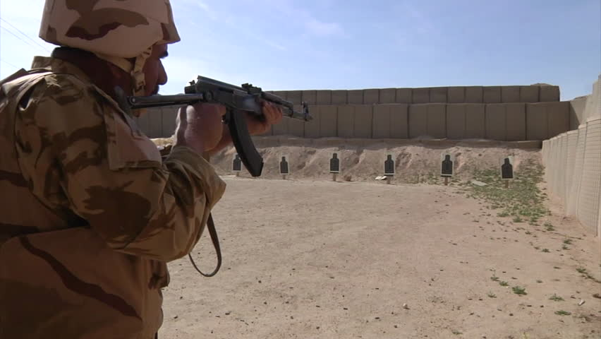 CIRCA 2010s - Iraqi army soldiers are trained by Americans at a firing range in Iraq.