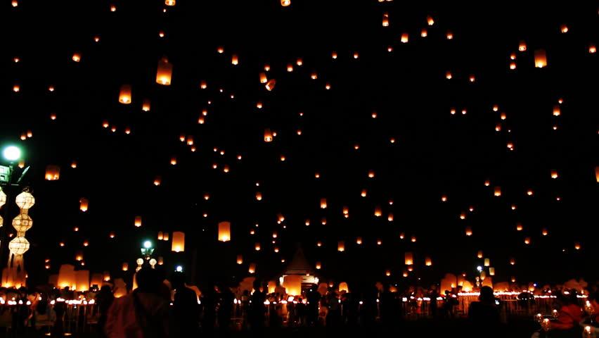Flying Lantern Yeepeng Loi Kra Tong festival in thailand | Shutterstock HD Video #9169982