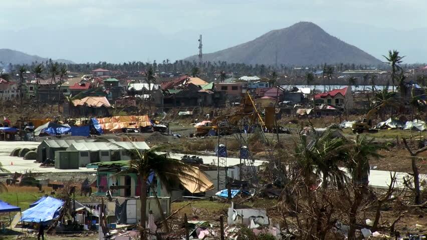 CIRCA 2010s - Devastated landscapes of the Philippines following Typhoon Haiyan.
