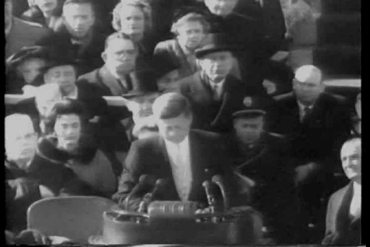CIRCA 1960s - John F. Kennedy delivers his inaugural address in 1961