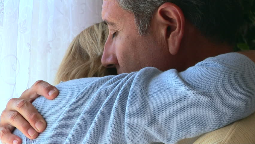 Closeup of husband comforting wife - HD stock video clip