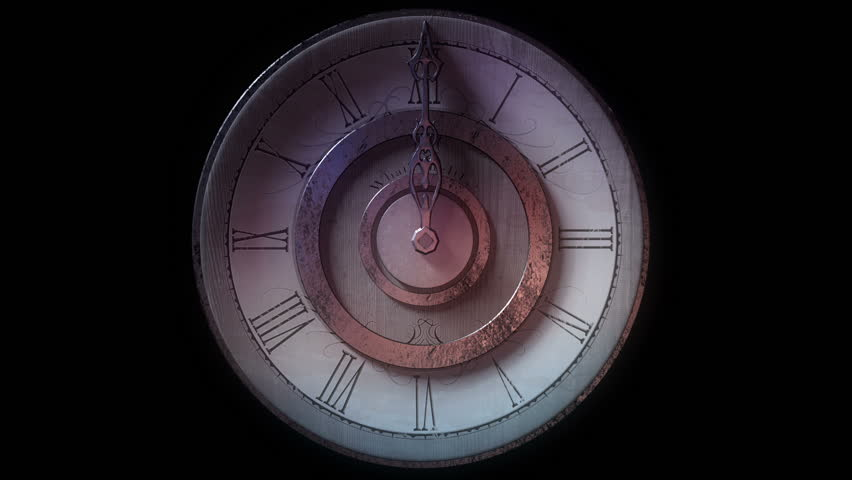 Front view of vintage wall clock with one metal pointer animated going one full circle. Looping on black background.   Shutterstock HD Video #9211022