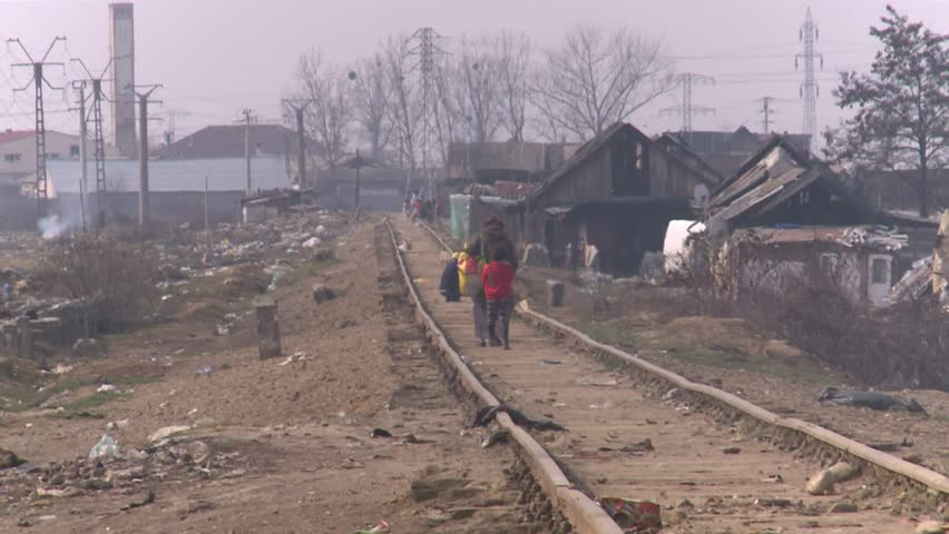 Romania Baia Mare - 11 march 2015  Gypsy family lives without water and without power1 1 march 2015 Romania Baia Mare  - HD stock footage clip