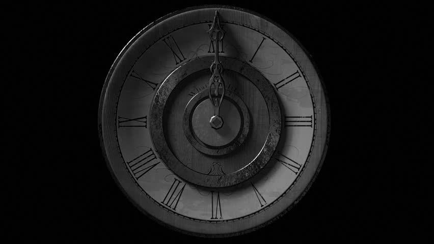 Front view of vintage wall clock with one metal pointer animated going one full circle. Looping on black background. Black and white look. | Shutterstock HD Video #9218285