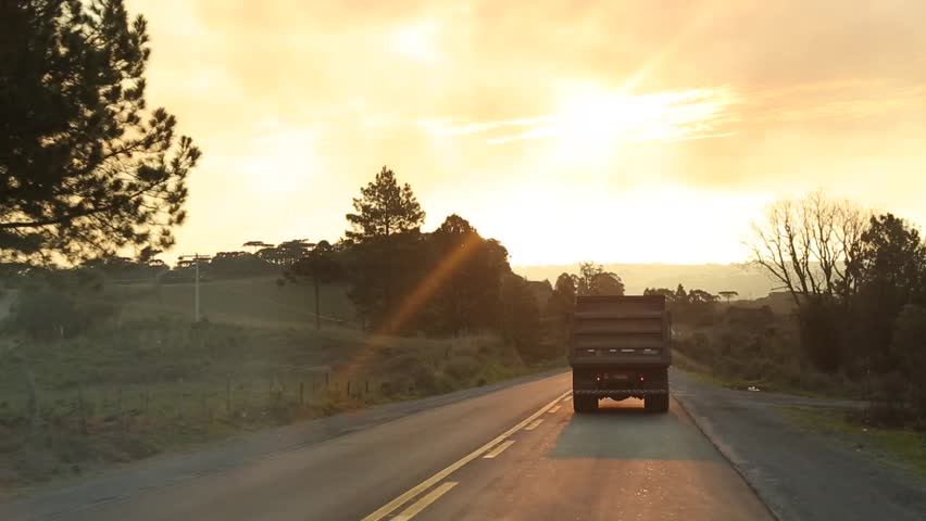 sunset on the road  - HD stock footage clip