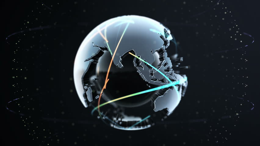 Digital globe of Earth with animated network connections or trails of airplane. Rotation of glossy planet with glowing particles, colorful stripes of communications trails. Animation of seamless loop.