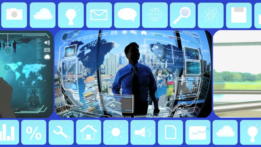 Business Motion Graphics businessman USA Touchscreen Network technology trade   Shutterstock HD Video #9276983