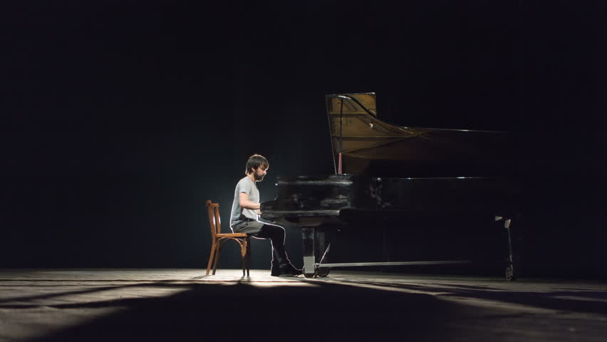 Man Playing Piano On Stage Stock Footage Video 9289079 ...