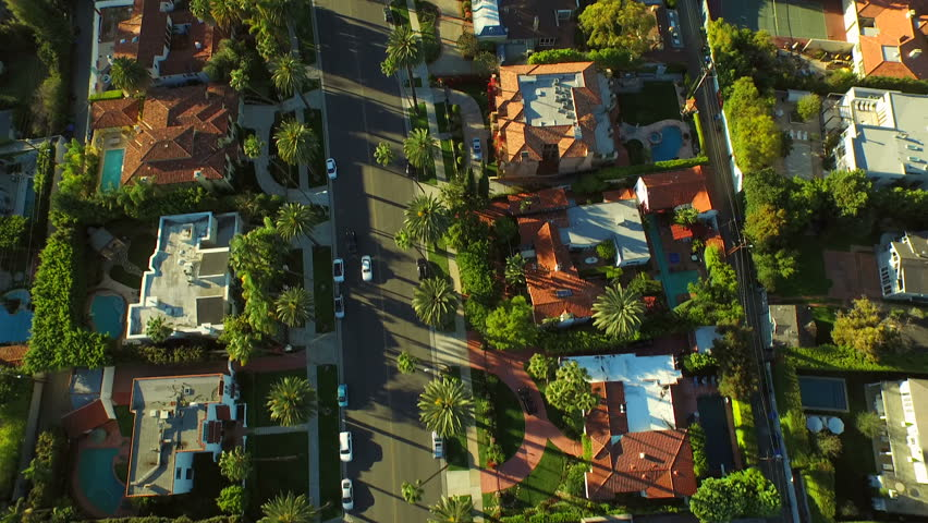 Los Angeles Aerial Beverly Hills v57 Low flying vertical aerial over Beverly Hills neighborhood. 2/24/15 | Shutterstock HD Video #9289907