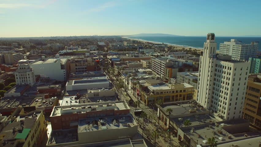 Los Angeles Aerial Santa Monica v38 Low flying aerial over Santa Monica. #9291059
