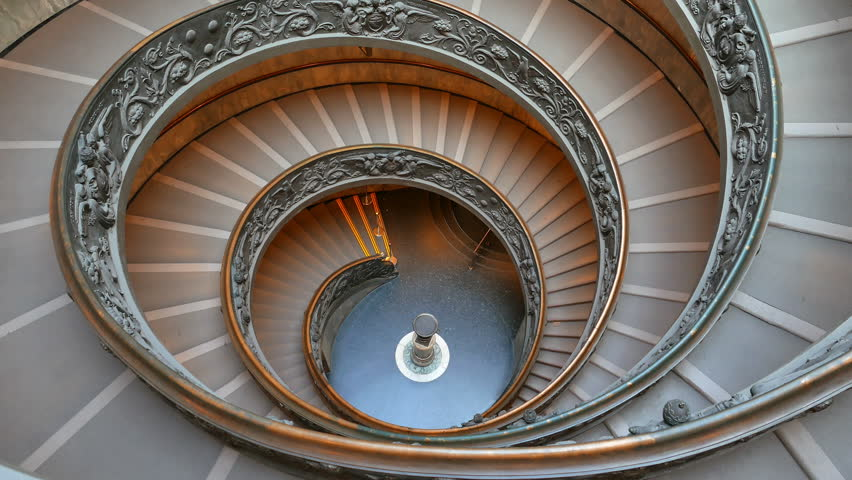 Spiral Staircase. VATICAN - February 19, 2015: famous double spiral staircase at the exit Vatican Museum, Rome, Italy. UltraHD (4K)