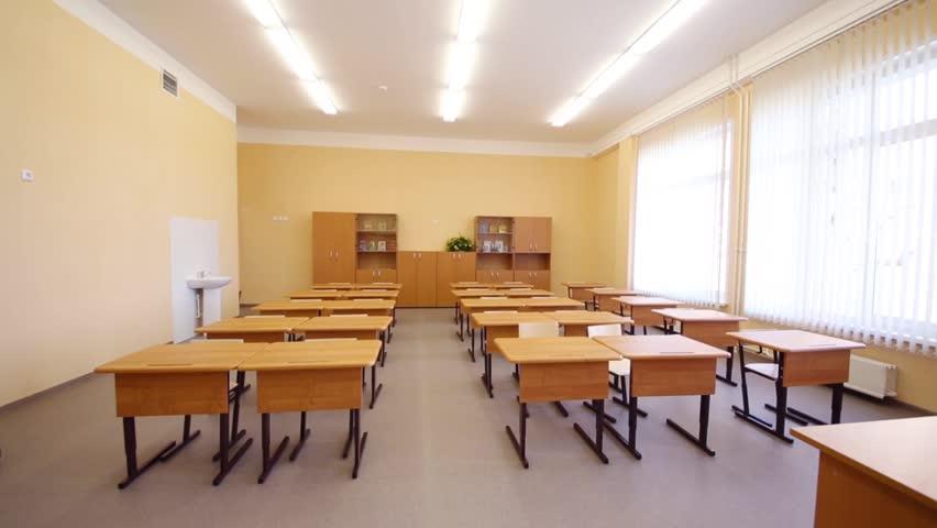Modern N School Classroom : New modern school classroom with chairs on desks bid
