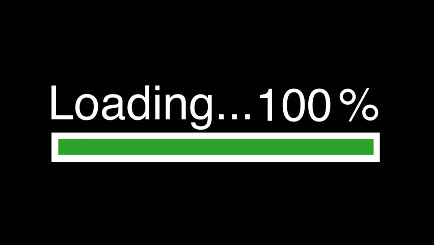 Green loading bar 4K Video - Animation green bar on black screen - Download 100% complete