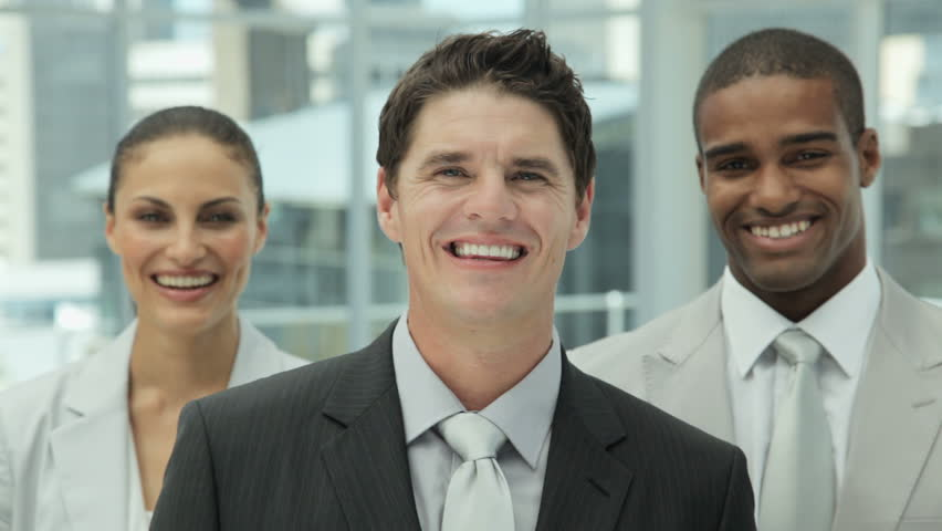 Happy Business Team Portrait - HD stock footage clip