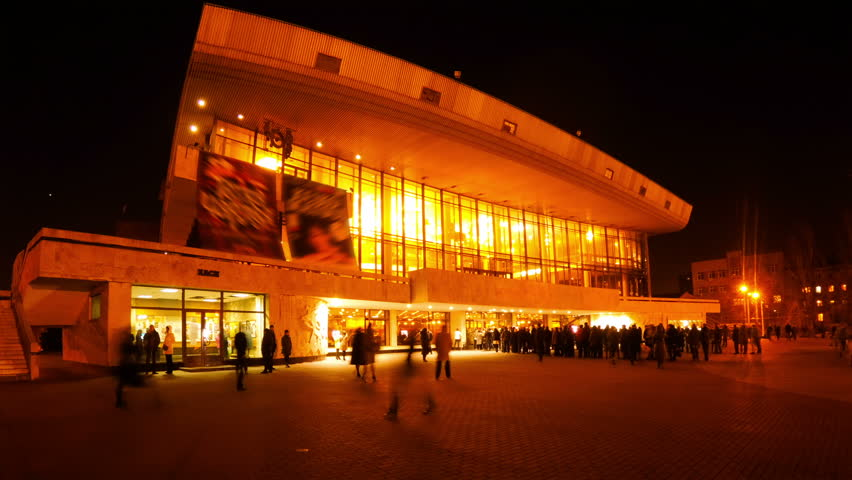 Concert Hall in the evening. Many spectators came to the concert. Timelapse