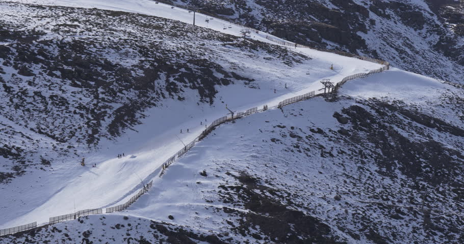 Day time early winter ski resort riders 4k spain sierra nevada | Shutterstock HD Video #9344159