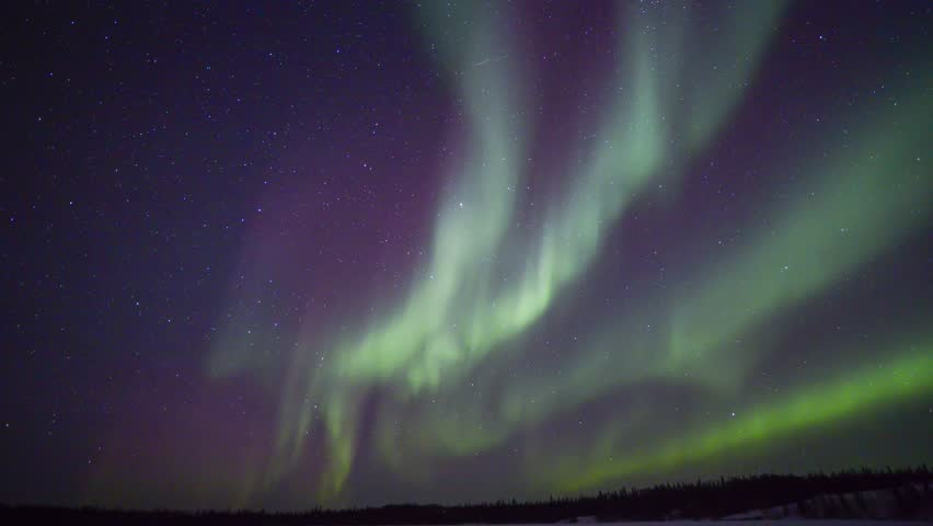 4K Timelapse footage - Northern lights on the polar sky