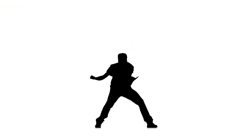 Young and stylish man dancing hip hop kramp on white background, silhouette - 4K stock footage clip