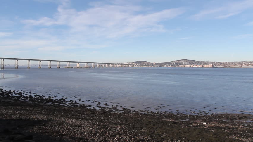 Timelapse of Tay Road Bridge and Dundee Scotland - HD stock video clip