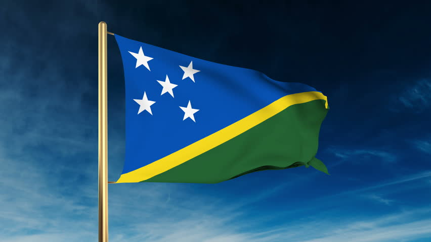 National Flag Of Solomon Island Waving In The Wind - Background ...