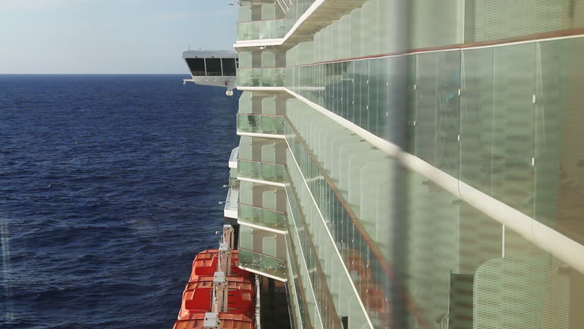 Balconies on a cruise liner. 1080p HD with natural sound. - HD stock footage clip