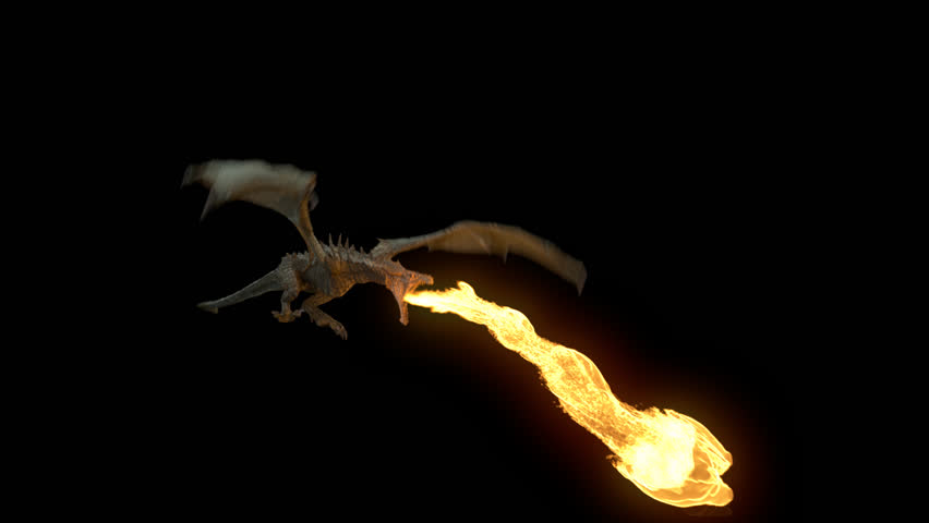 Realistic Dragon flying and breathing fire. Looped clip with alpha channel.