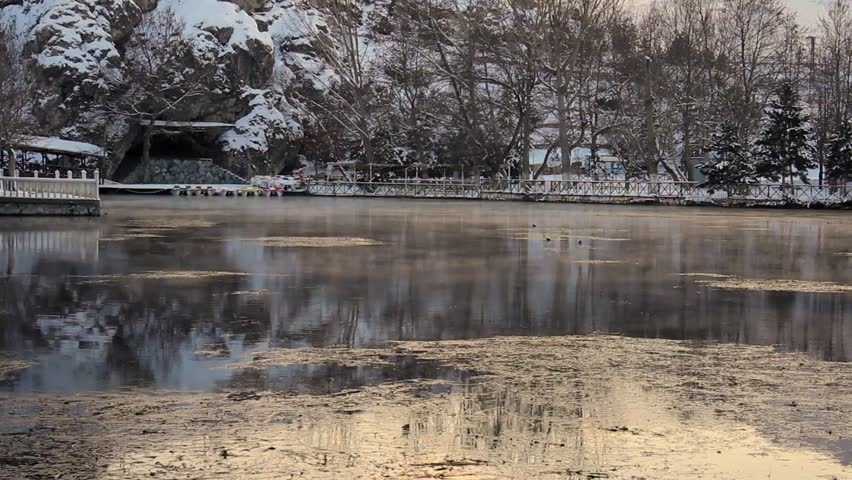 River in winter - HD stock video clip