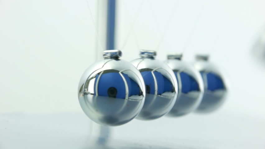 Newton's Cradle pendulum close up over white background with sound. - HD stock footage clip
