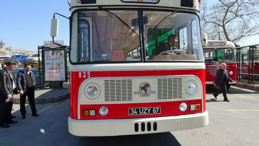 ISTANBUL - APR 1, 2015: Nostalgic buses back on Istanbul roads. Leyland Motors, 5th largest producer of trucks and buses in the world, situated 5 miles south of Preston in England