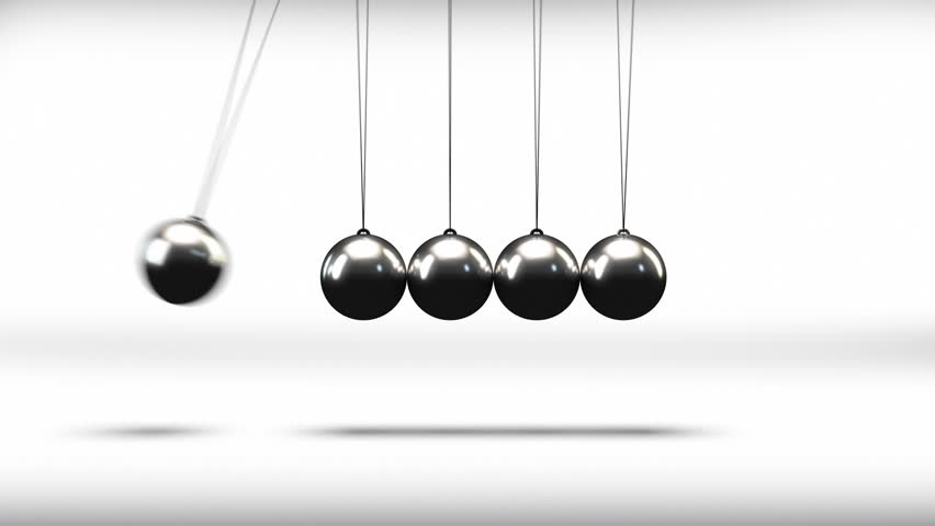 The newton cradle pendulum balls swinging back and forth in a loop - HD stock video clip
