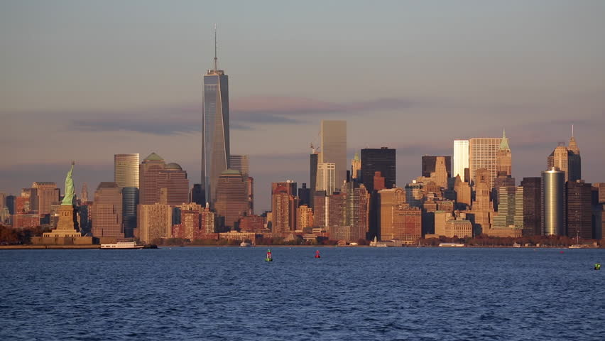 New York - CIRCA NOVEMBER 2014: Statue of Liberty, One World Trade Center and Downtown Manhattan across the Hudson River | Shutterstock HD Video #9508517
