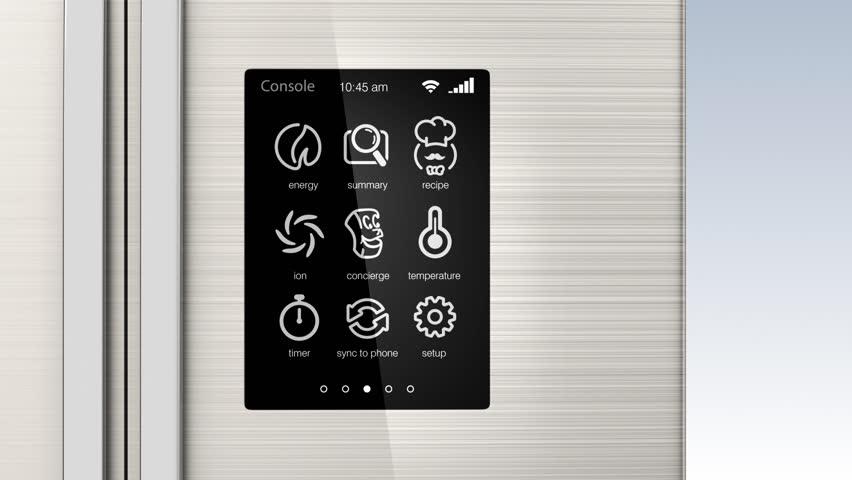 Demonstration of smart refrigerator. Internet ofthings concept.