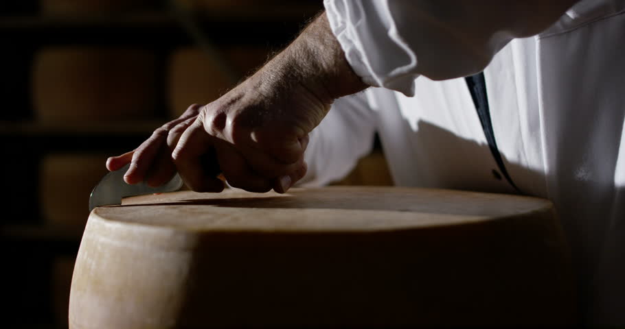Super slow motion of middle aged cheese maker cuts the wheel of Italian Parmesan cheese/Parmigiano Reggiano for quality control