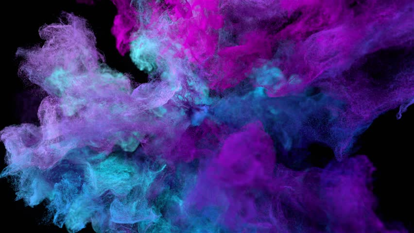 """Color explosion on black """"Cold neon"""" (with alpha matte, full hd)"""