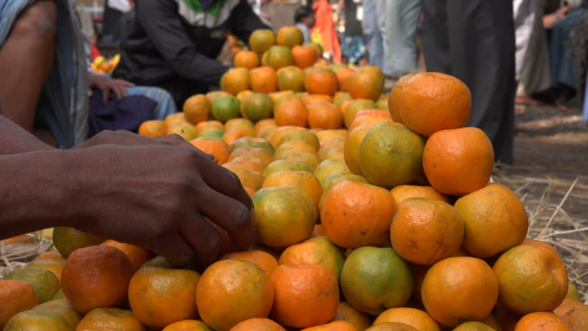 Oranges for sale at a large market in Kolkata, India.