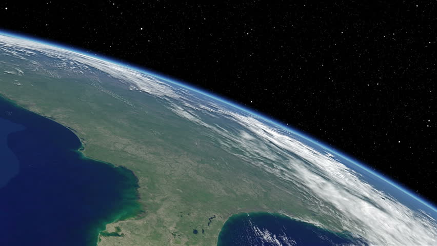 Simulated International Space Station earth orbit flyover of the Florida peninsula from Jacksonville, Florida to Cuba. Available in UHD and DCI 2K/4K sizes, by request. - HD stock footage clip