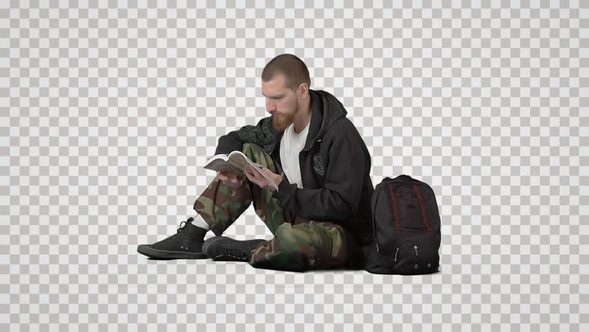 Young hiker with knapsack sits on  floor, reads book & waits. Side view. Footage with alpha channel. File format - mov. Codeck - PNG+Alpha Combine these footage with other people to make crowd effect