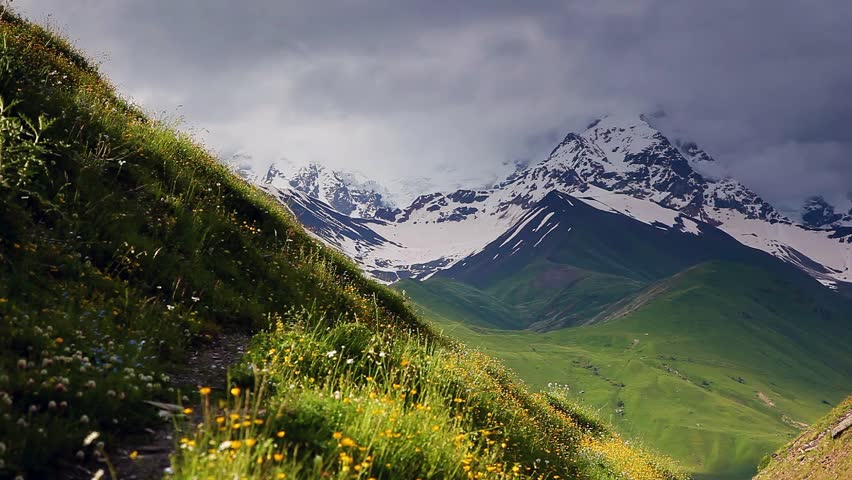 Great view of the green meadows with blue sky at the foot of Mt. Shkhara. Upper Svaneti, Georgia, Europe. The main Caucasus ridge. Beauty world. HD video (High Definition)