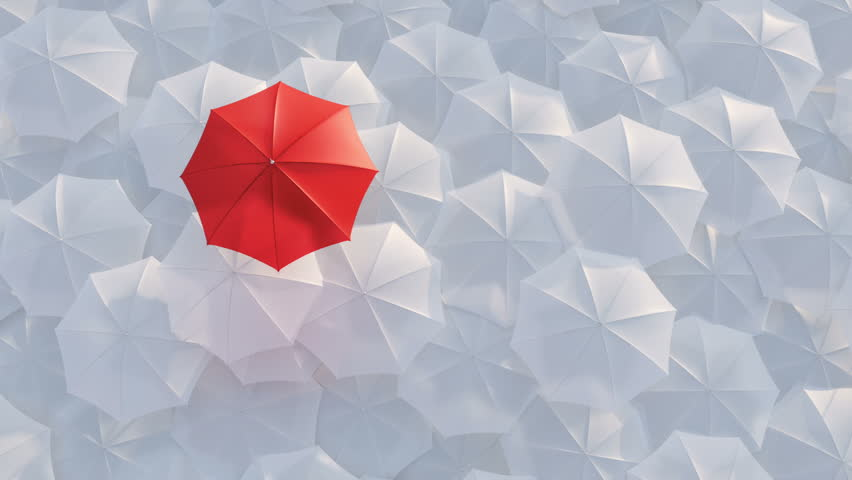Red umbrella open and standing out from crowd mass white umbrellas, design background text concept, above point, with color mask