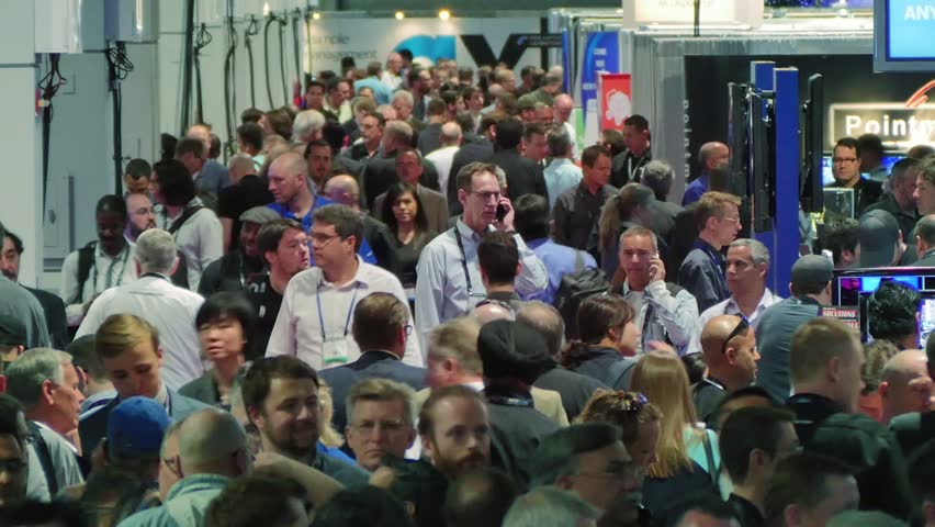 LAS VEGAS - April 15: Crowd of people at NAB Show 2015 exhibition in Las Vegas Convention Center. NAB Show is an annual trade show produced by the National Association of Broadcasters. April 13-16