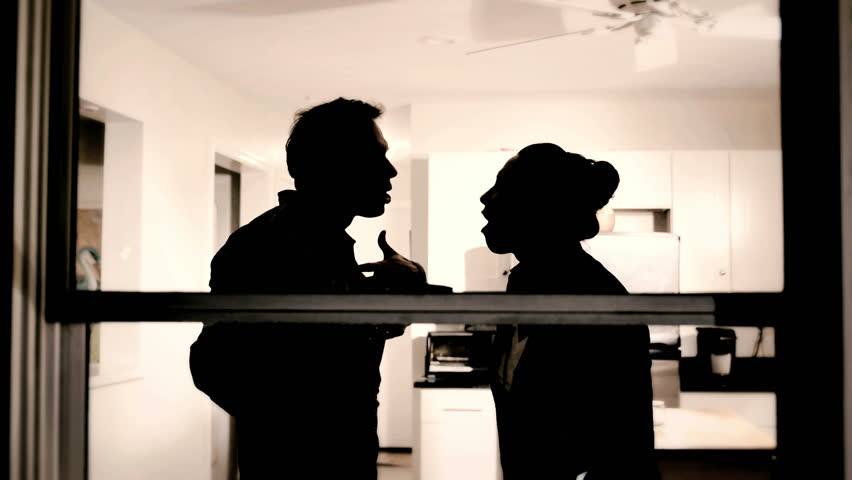 Silhouette of couple man and woman fighting at home, marriage trouble  | Shutterstock HD Video #9681101