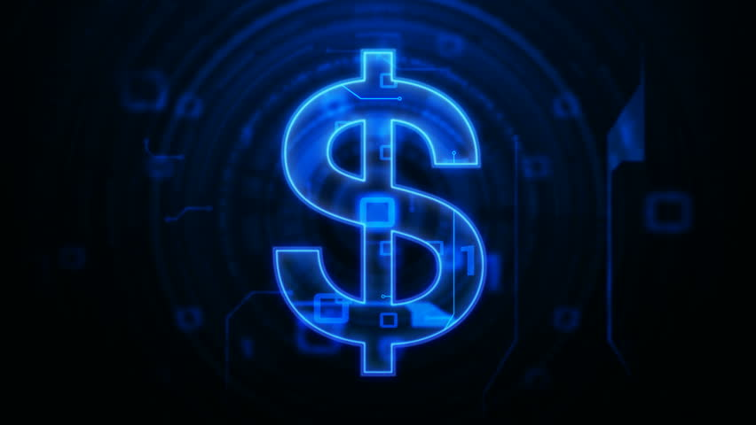 dollar signs floating up 1080p with dark blue background