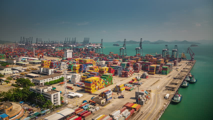 SHENZHEN,CHINA - DECEMBER 2014: sunny day shenzhen city famous bay port panorama 4k time lapse china | Shutterstock HD Video #9694367