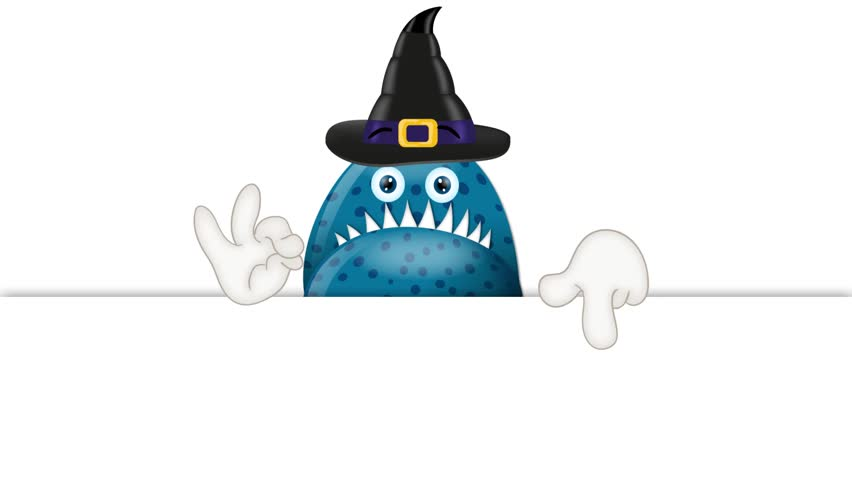 Monster Garry with Magic Hat Halloween Cartoon Advertising Space | Shutterstock HD Video #9717551