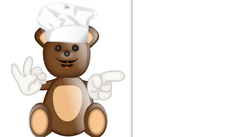 Funny Teddy bear cook cooking chef hat cartoon illustration | Shutterstock HD Video #9746009