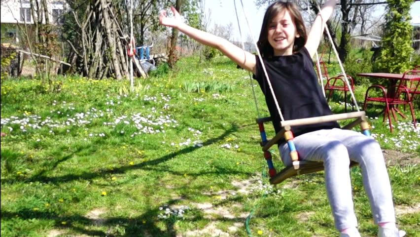 girl on swing above - photo #32
